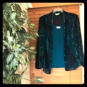 Velvet multi blue/green jacket and shell combo